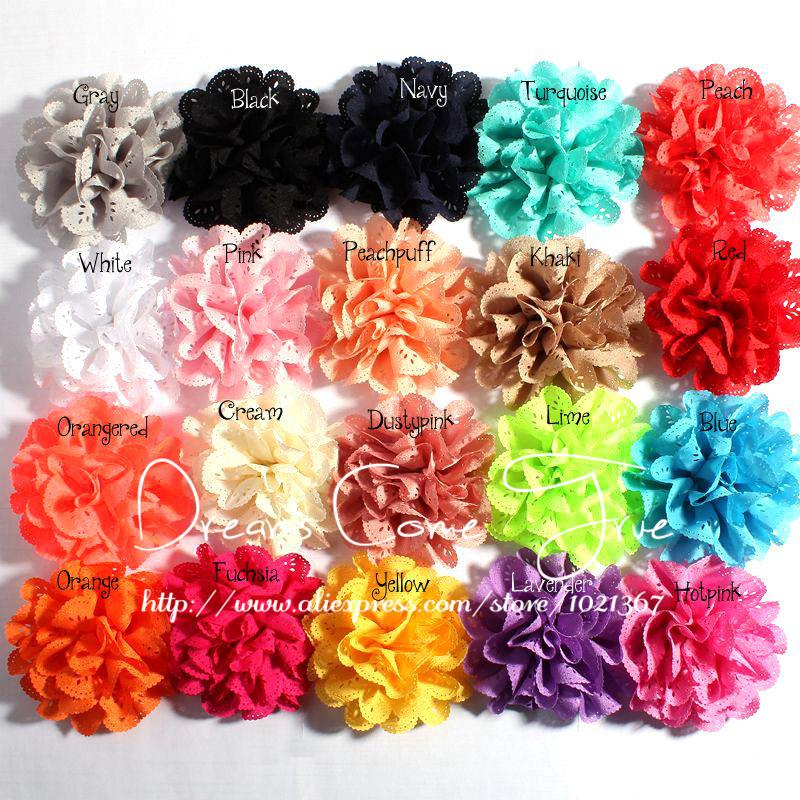 200pcs/lot 4 17Colors Fashion Handmade Eyelet Artificial Fabric Chiffon Headband Flower Accessories For Baby Girl Hair Flowers