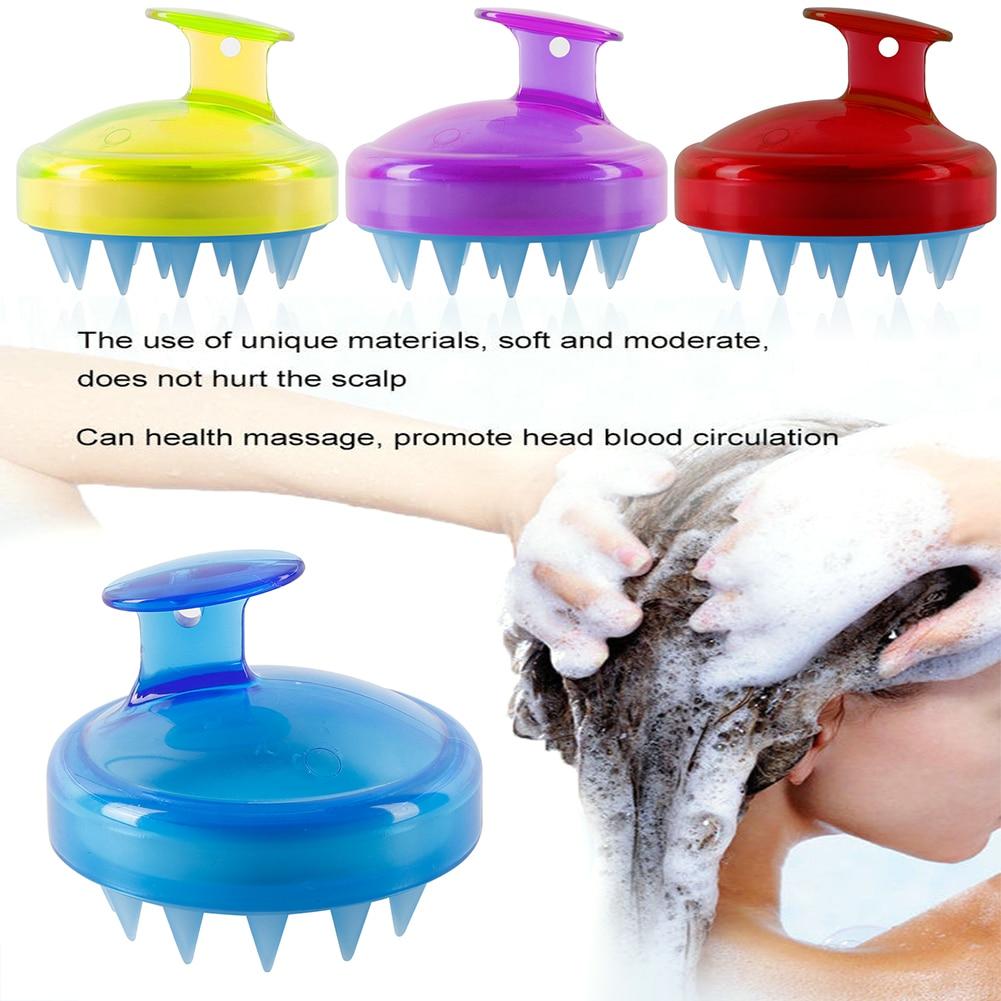 1PCS Spa Slimming Massage Brush Silicone Head Body Shampoo Scalp Massage Brush Comb Hair Washing Comb Shower Bath Brush