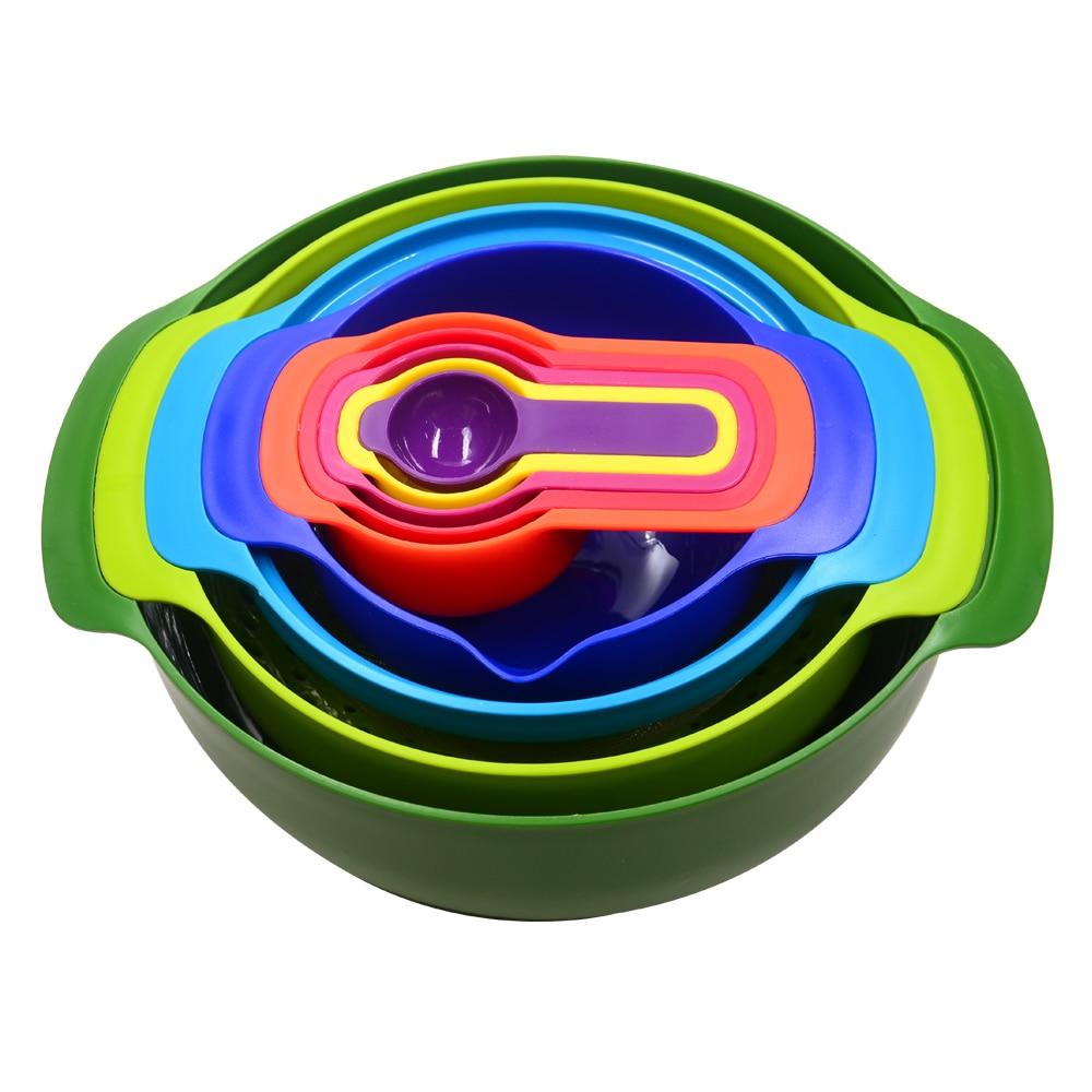 Best kitchen utensil set - 9 Piece Set Kitchen Utensils Unique Rainbow Colored Nesting Bowls And Measuring Cups Best Plastic Compact