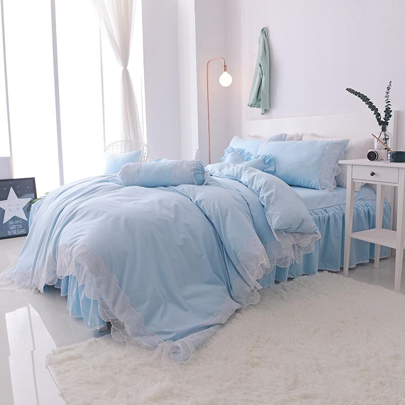 Svetanya Lace Princess Bedlinen Quilt Cover Set 4pc or 7pcs Collection Bedding Sets Korean Style Solid Color