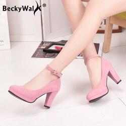 Осенние женские туфли-лодочки на высоком каблуке; замшевая обувь на платформе; женская обувь на толстом каблуке с ремешком на щиколотке; удо...