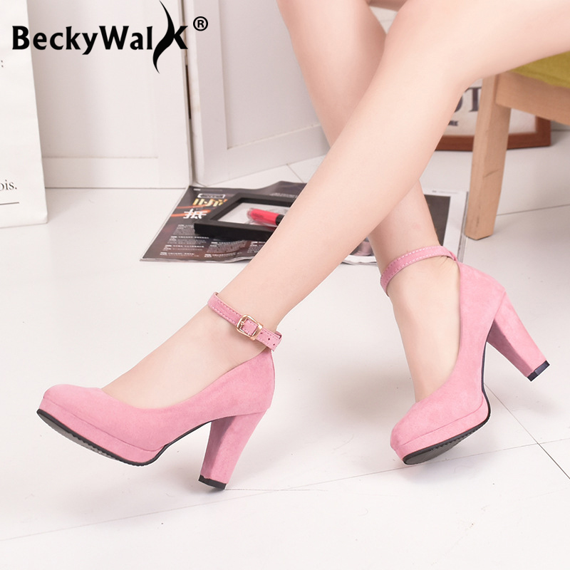Autumn High Heels Women Pumps Platform Suede Shoes Women Ankle Strap Thick Heeled Ladies Shoes Comfortable Working Shoes WSH3166