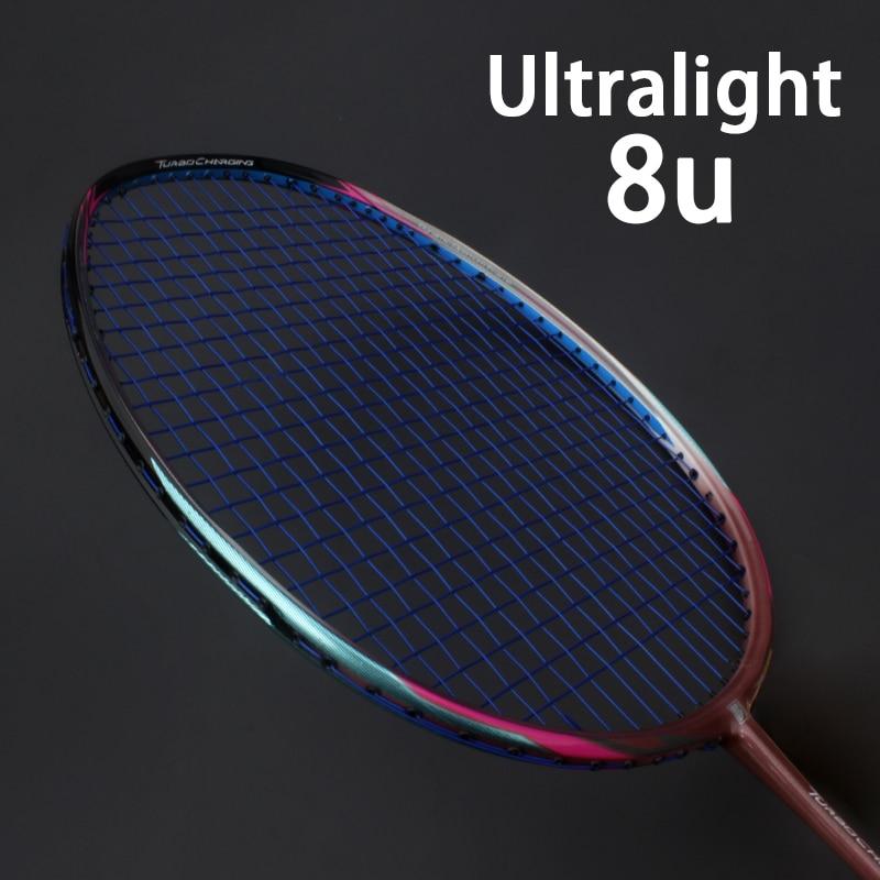 Professional Ultralight 8U 65g Carbon Fiber Badminton Racket String Bags Raquette Sport Light Rackets Z Speed Force Padel