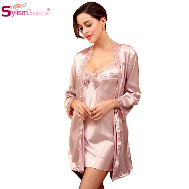 2016 Sexy Women Sleepwear Set Nightgown & Robe Lace Night Dress Waistband Pijama Home Clothes For Womens Nightdress