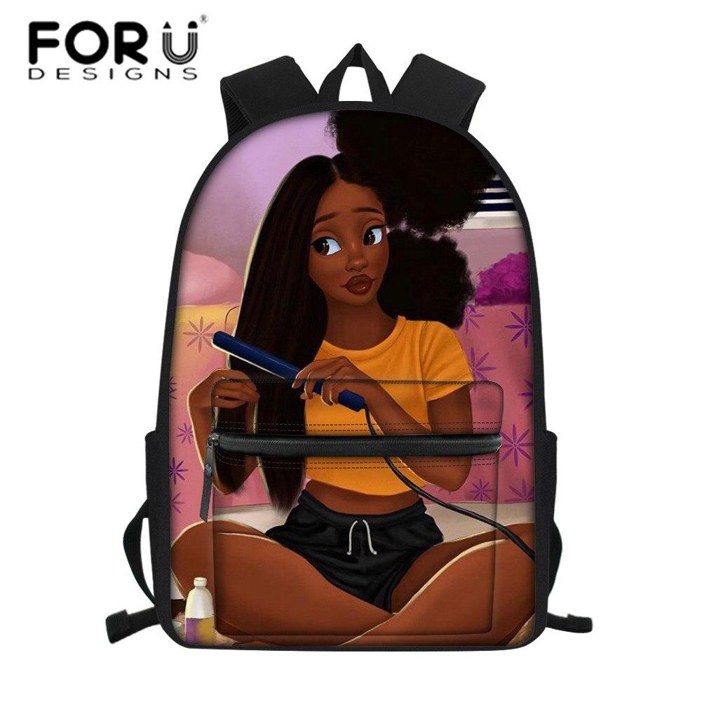 FORUDESIGNS Back To School Bags For Kids Black Women Art African Girls School Backpack Children Large Bookbag Teenager Schoolbag