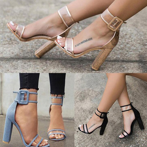 Image 5 - Khtaa女性夏ハイヒールサンダル透明アンクルストラップパンプスカバーヒールファッションダンスシューズセクシーなパーティー結婚式の靴
