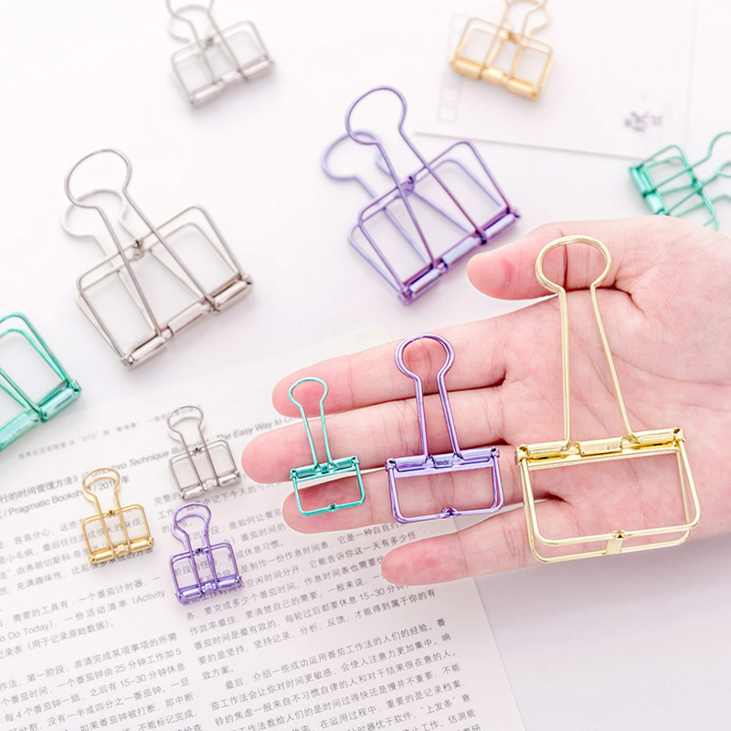 Colored Metal Hollow Binder Clip for Girl Creative Kawaii Paper Clip for Photo Message Ticket File Office School Supplies in Clips from Office School Supplies