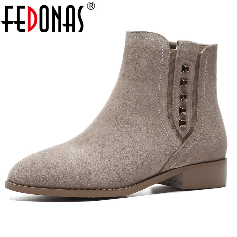 FEDONAS Retro Rivets Women Cow Suede Ankle Boots High Heels Autumn Winter Short Martin Shoes Woman Basic Motorcycle Boots цены