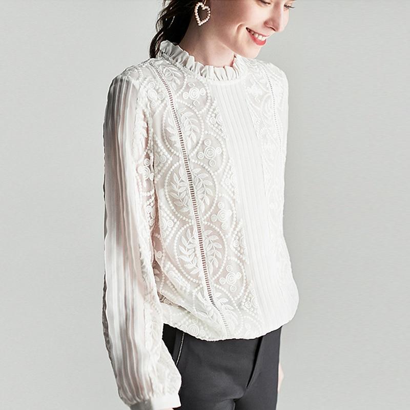 Blusa de seda 100% camisa de mujer bordado Vintage sólido diseño plisado volantes cuello redondo manga larga estilo elegante nueva moda 2019-in Blusas y camisas from Ropa de mujer    2