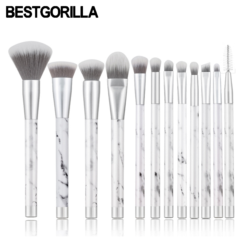 BESTGORILLA New Arrived High Quality Fashion 12pcs/Set Matt silver marble makeup brush with PVC handle Scattered Beauty Tools 2017 new intex 28212 56996 round bracket pool family adults children swimming pool multiplayer 366 76cm