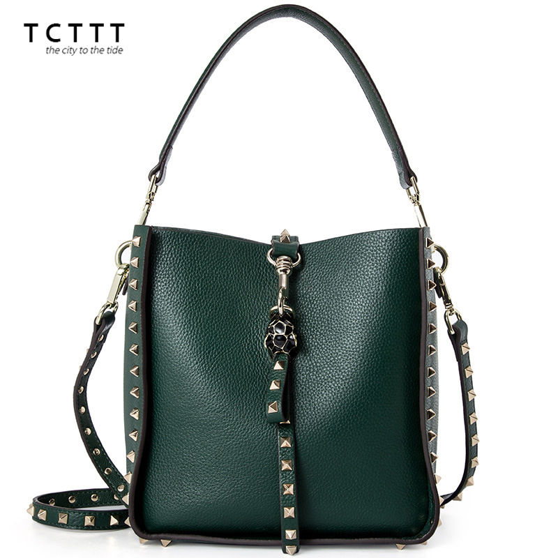 TCTTT Genuine leather crossbody bag for women's High Quality Rivet style shoulder Handbags Bucket shape crossbody bag Feminina pumping bucket bag rivet handbags mini bucket bag