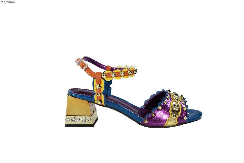 купить Summer Sandalias Chunky High Heels Pumps Woman Elegant Mirrow Leather Diamond Wedding Ankle Strap Women Sandals Party shoes по цене 4944.1 рублей