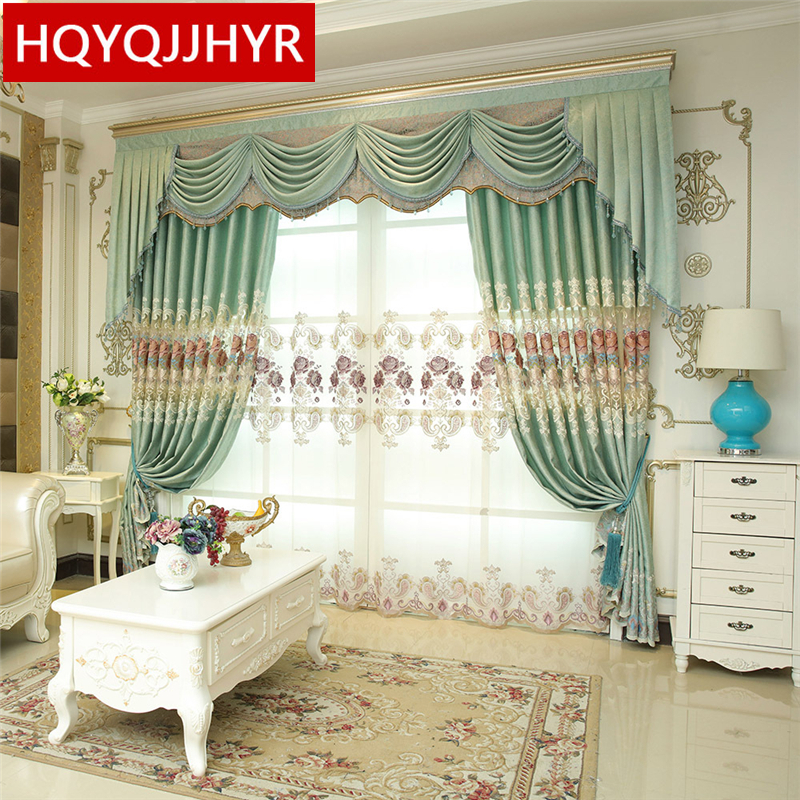 Luxury Custom Blue European Embroidered High Shade Curtains For Living Room  Window Curtain Bedroom Window Curtain Kitchen