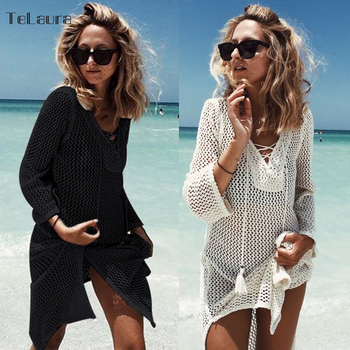 2019 New Hollow Knitting Tasseled Beach Cover-ups Bikini Crochet Knitted Summer Beachwear Swimsuit Cover Up Sexy See-through