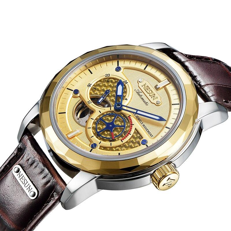 все цены на Switzerland Luxury Brand NESUN Skeleton Tourbillon Watch Men Auto Self-Wind Men's Watches 100M Waterproof Sport clock N9810-1 онлайн