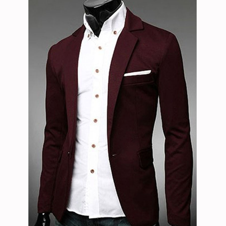 Mens Casual Blazer Slim Fit Jacket New Arrival Single Button ...