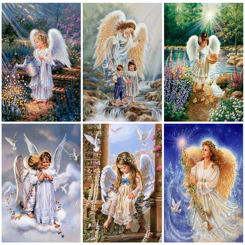 5d Diy Diamond Painting Cross Stitch Religion Diamond Embroidery Angel Girl Picture Landscape Wall Sticker Full Diamond Mosaic
