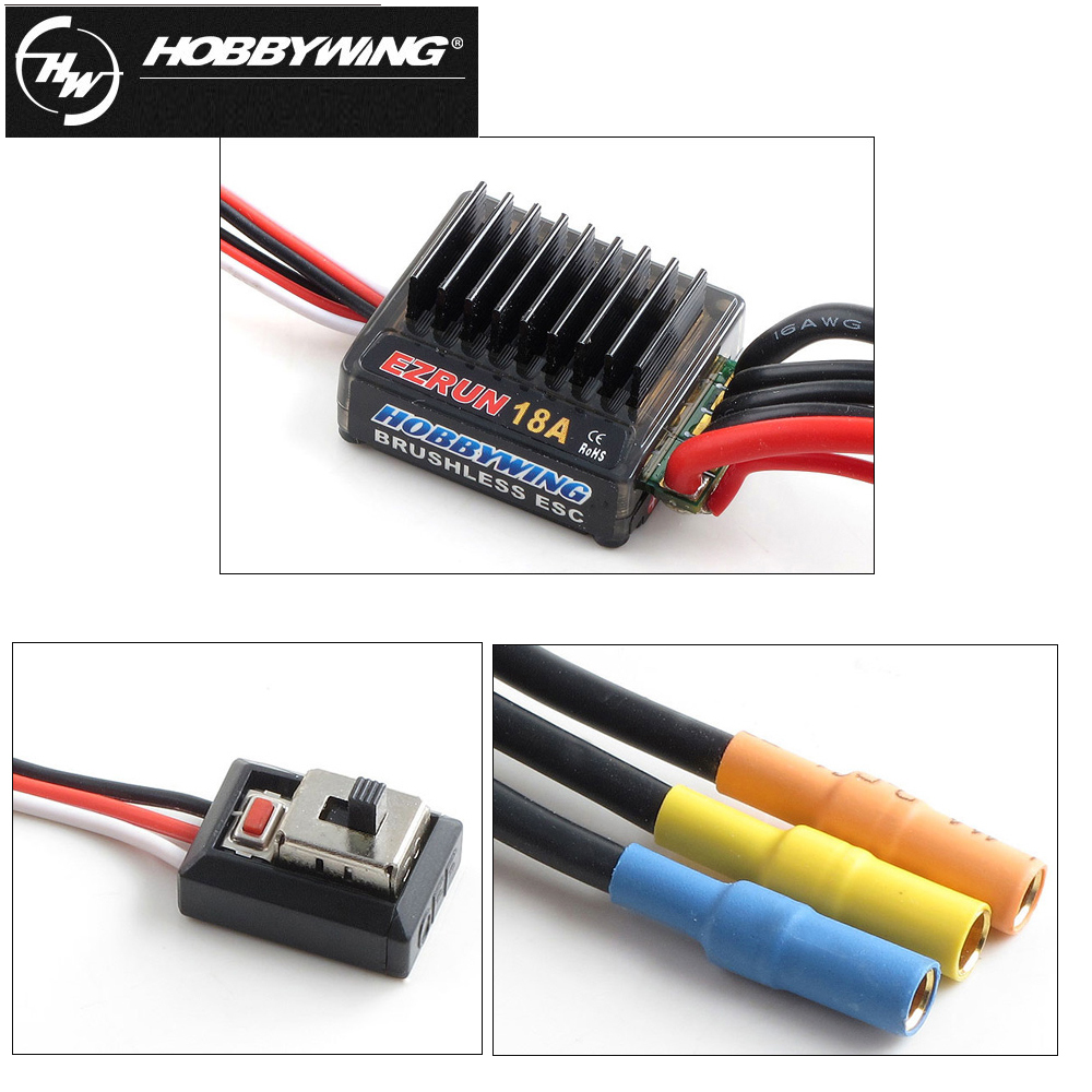 4pcs/lot Hobbywing EZRUN 18A V2 2-3S Lipo Speed Controller Brushless ESC BEC Output 6V/1.5A For 1/16 1/18 RC Car 45a brushless speed controller esc w fan for 1 18 1 12 cross country car