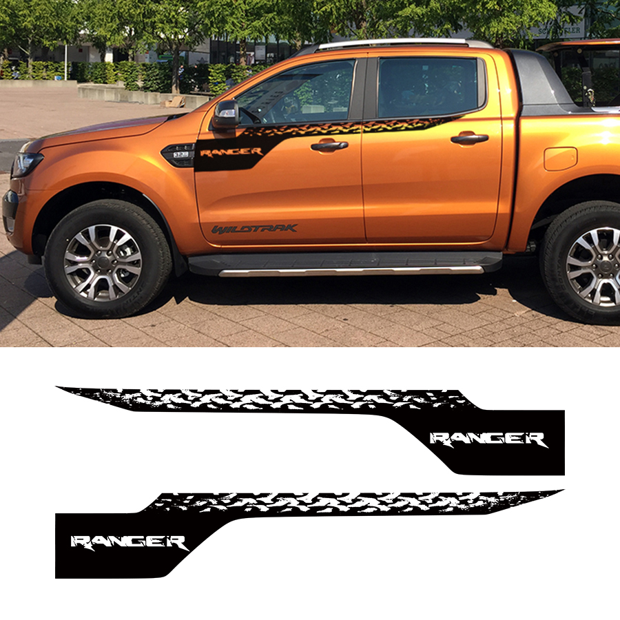 2 PC tire marking side stripe graphic Vinyl car sticker for Ford Ranger 2012 on upper door cool scorpion design die out vinyl sticker on car for vw polo golf mazda and so on fashion car side door decals labels