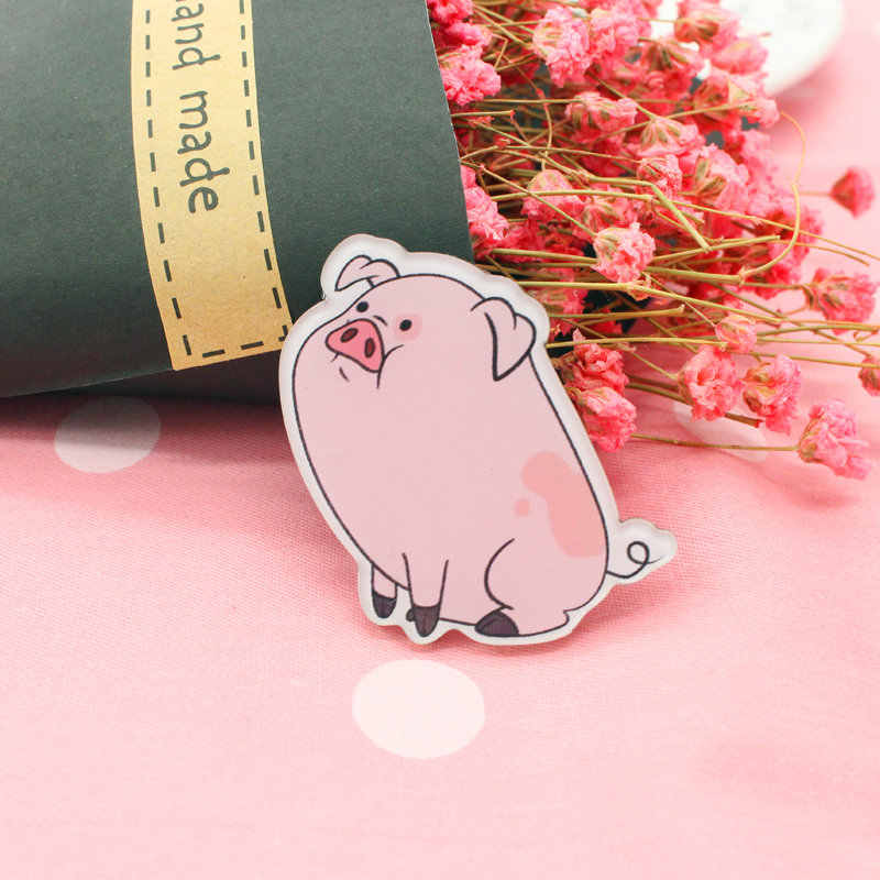 Gratis Pengiriman 1 Pcs Lukisan Kartun MIX Pink Babi untuk Pakaian Akrilik Lencana Kawaii Ikon Di Ransel Pin Bros lencana Z1