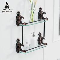 Bathroom Shelves Brass Shelves for bathroom Tempered Glass Shelf Towel Rack Shower Wall Shelf Bathroom Accessories WF 88815