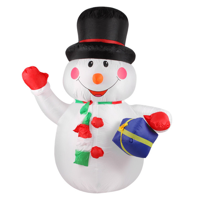 White Snowman outdoor christmas decorations solar 5c64f44460693
