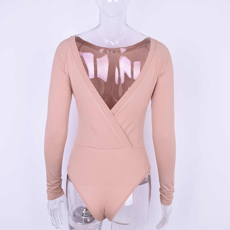 Mono de algodón de manga larga de un hombro con escote en forma de pendiente 2019 Otoño Invierno mujer sólido sexy sin espalda cuerpo Sexy espalda en V