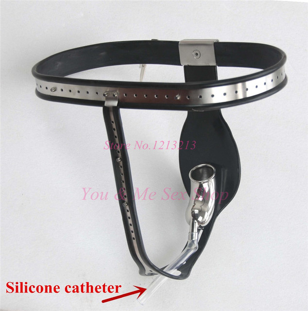 2016 New Stainless Steel Male Chastity Device W/ Silicone Catheter Men Chastity Belt Dual Lock Cock Cage Sex Product Sex shop
