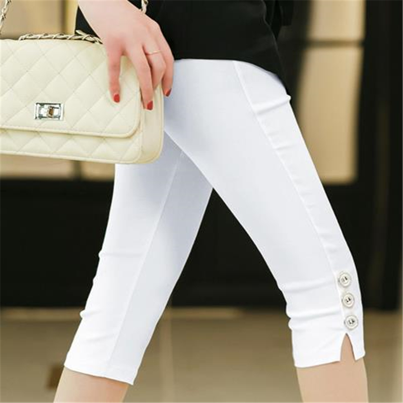 Hot Women Summer Casual Ladies Women's Slim Stretch Female Leggings Pants Crops Skinny Knee Elastic Calf Length Pencil Capris
