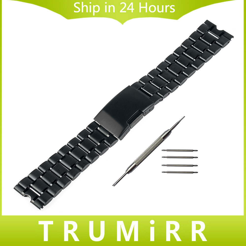 22mm Stainless Steel Watch Band Metal Watchband Bracelet Strap for Smartwatch Motorola Moto 360 1 1st Gen 2014 Black Silver men women charming watchband stainless steel watch band for motorola moto 360 2nd 42mm bracelet writ watches straps replacement