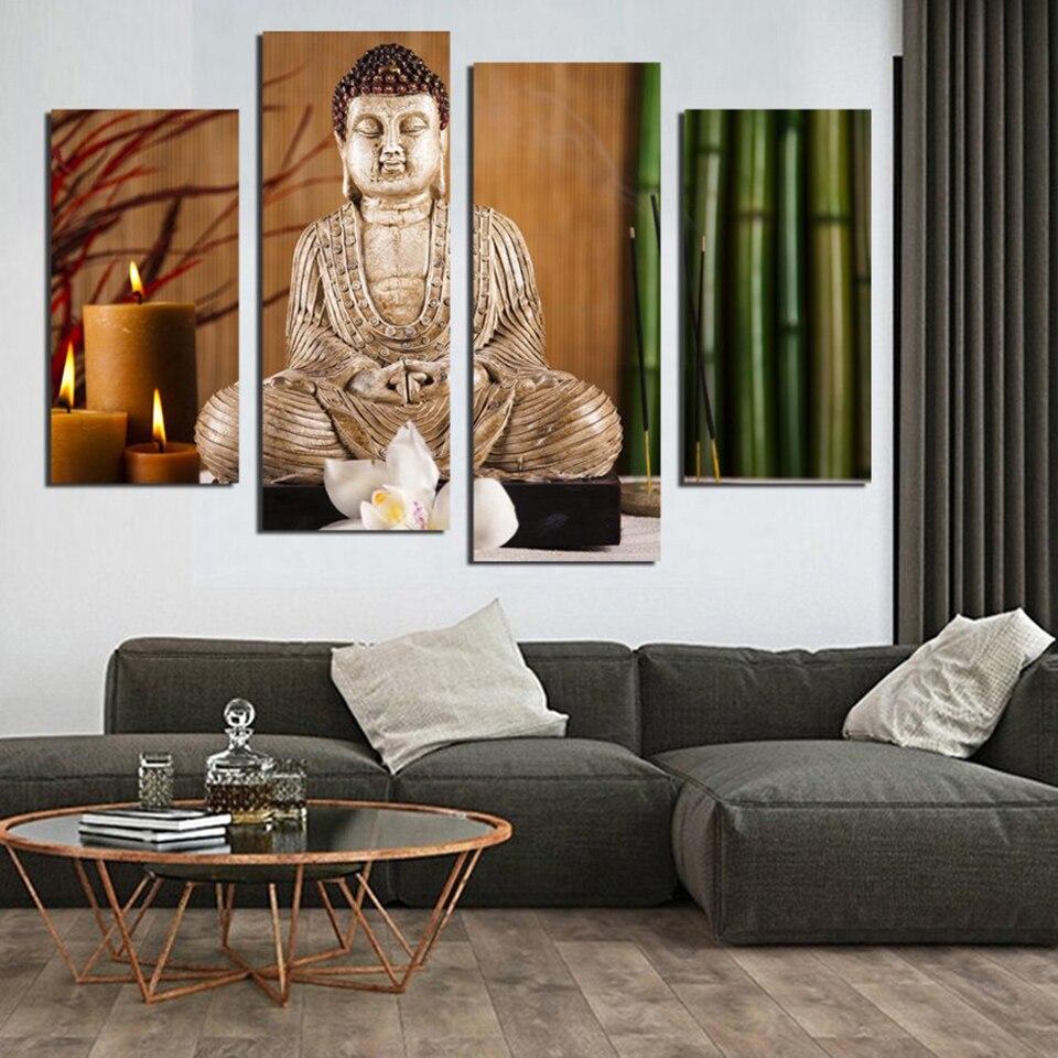 La pared de la lona de Arte Moderno cuadros Marcos 4 panel Buddha ...