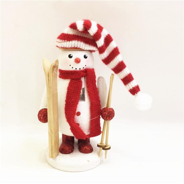 New 15Cm Tall Christmas Holiday Nutcracker Snowman Skiing Vintage German Wooden Table Walnut Toy Zakka Dolls