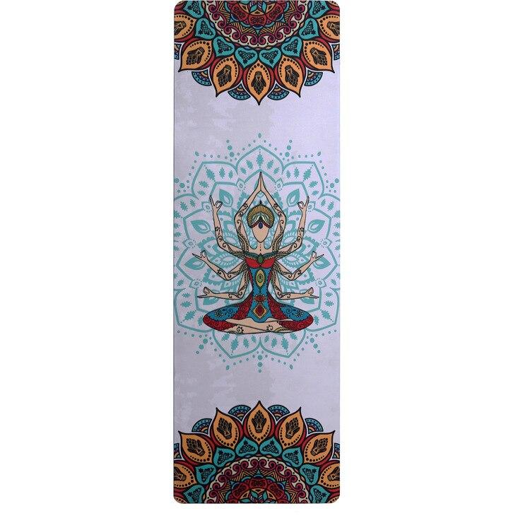 Épaissir le tapis de yoga antidérapant d'impression de tissu de suède en caoutchouc naturel de 5mm
