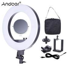 "Andoer CY-R50L 18"" Studio LED Lamp Ring Light 3200K-5500K Photography Light with Make-up Mirror Smartphone Holder Cold Shoe Base(China)"