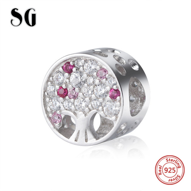 925 Silver metal the tree of life di perline con zirconia fit originale pandora Braccialetto di Fascino diy gioielli per San Valentino regali di giorno