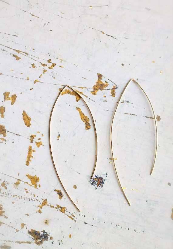QIMING минималистский Arc большой обруч большие серьги для женщин корейские модные ювелирные изделия геометрические Винтажные висячие серьги длинные серьги