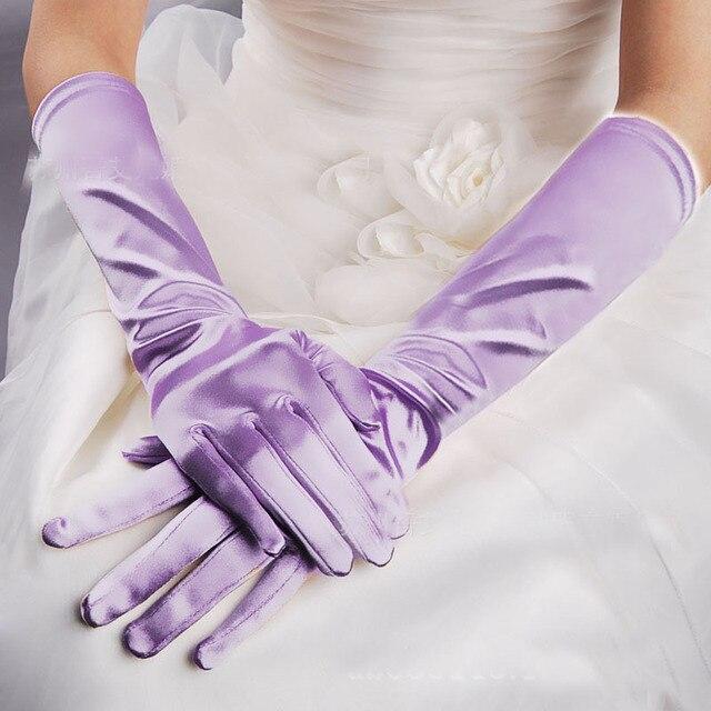 Wanita Perempuan Menari Kinerja Cahaya Ungu Lavender Sarung Tangan Fashion Evening Party Opera Panjang