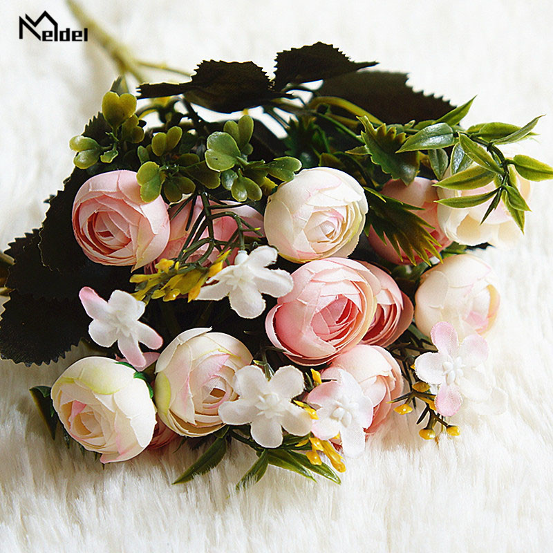 13 heads 1 bundle Silk roses Bride bouquet for Christmas home wedding new Year decoration fake plants artificial flowers (7)