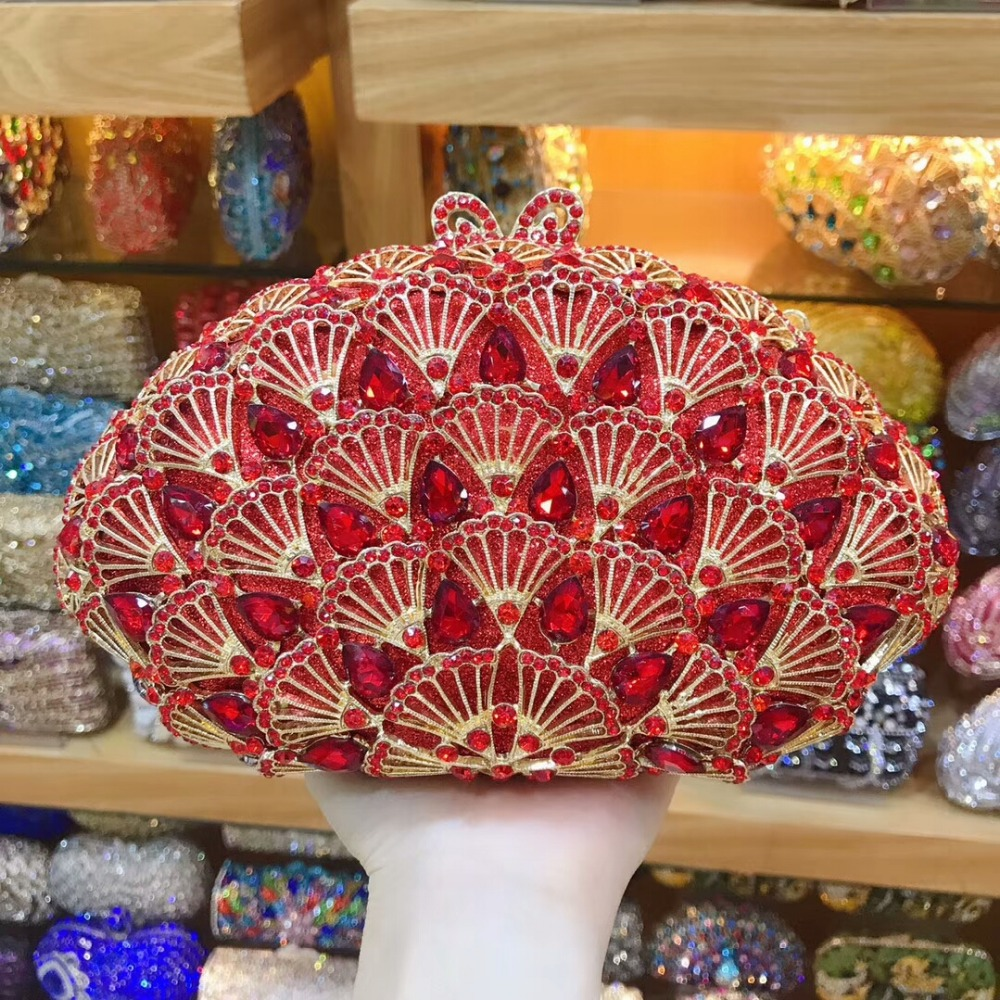 Soirée De Sac argent Xiyuan cocktail Bourse À Pictur Cristal Main Banquet de Rouge color Bandoulière Mariage Same Color Pictur As Femmes Chian Messenger Sacs wYZpYqxz