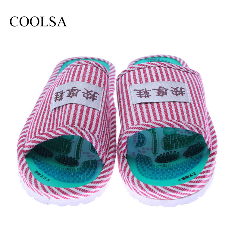 купить COOLSA Women's Taichi Acupuncture Magnet Massage Slippers Red Stripe Slippers Women's Massage Flip Flops Slippers Wholesale онлайн