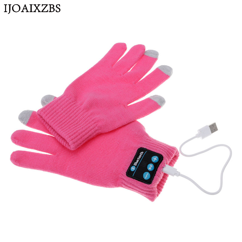 Rechargeable Wireless Bluetooth Gloves Women Men Winter Knit Warm Mittens Call Talking Touch Screen Gloves Mobile Phone Pad