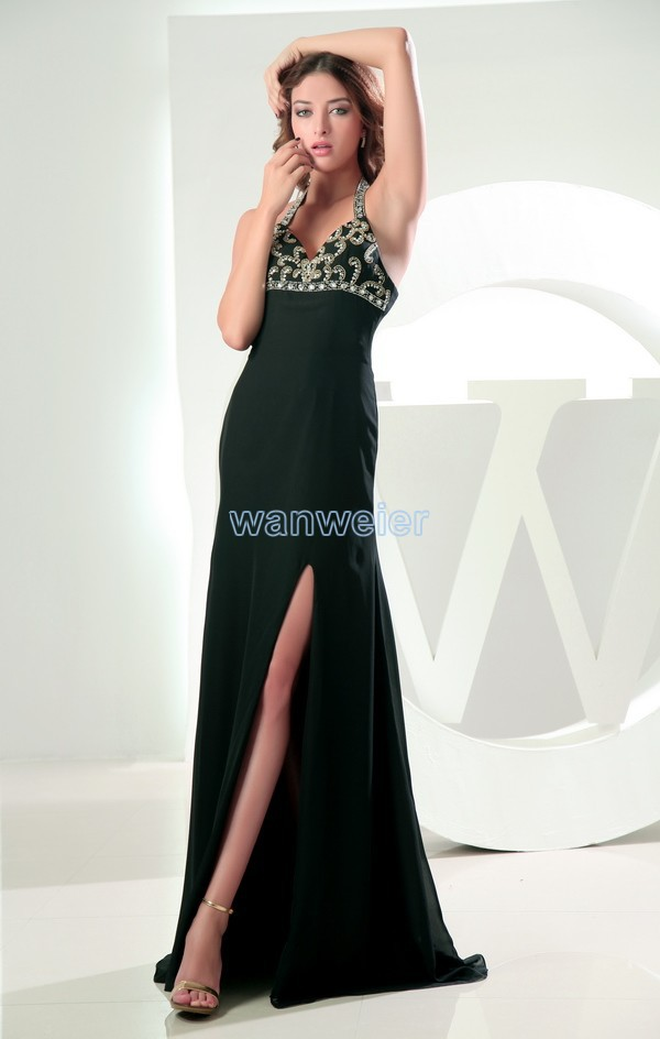 free shipping maxi dresses 2013 vestidos formales hanging neck chiffon halter prom long dress with crystal stones