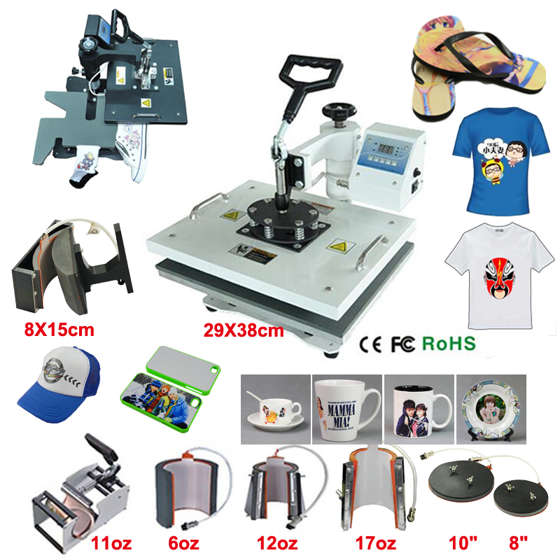 Smooth Printing 9 In 1  Multi-function LCD Shake His Head Heat Transfer Machine Baking Cup Phone Shell T-shirt Transfer Machine