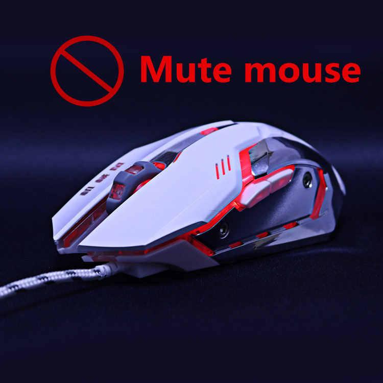 サイレントミュートノイズレス 3200 dpi 調整 USB 6D 有線光学式コンピュータゲーミングマウスカラフル LED マウスコンピュータ Pc のラップトップ dota 2