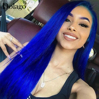 Colored Blue Lace Human Hair Wig 13x6 Lace Front Wigs 30 inch Glueless Transparent Lace Frontal Closure Wig 150 Density Dolago