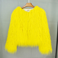 Chic imitation Fur Coat Long Hair Faux Fur Cardigan wool jacket High Waist Trench Coats Outwear Bomber 2018 High quality
