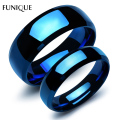 FUNIQUE Lovers Rings Jewelry 1PC 316 Stainless Steel Wedding Band Rings Can Carved Blue Steampunk Ring Women Men Party Rings