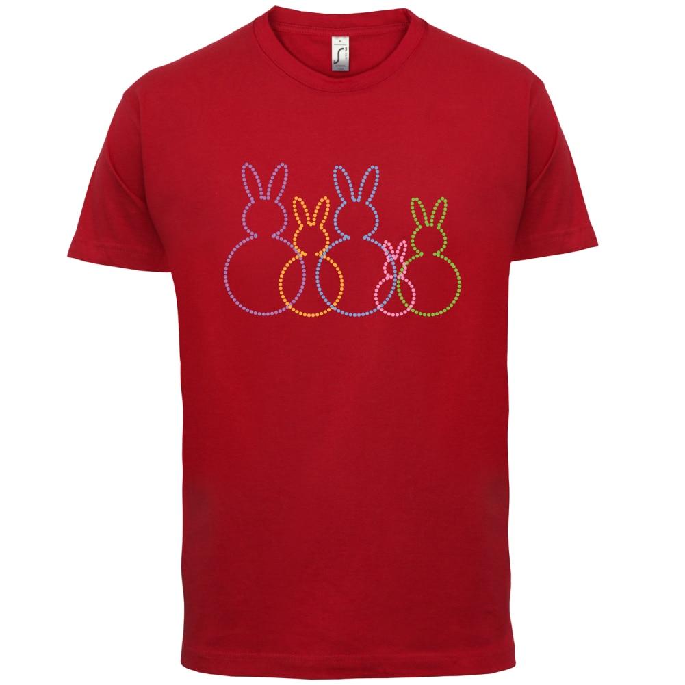 Bunny Family Outline - Womens / Ladies T-Shirt Easter Egg Cute Funny Sleeve Hot Print T Shirt Mens Short Tops