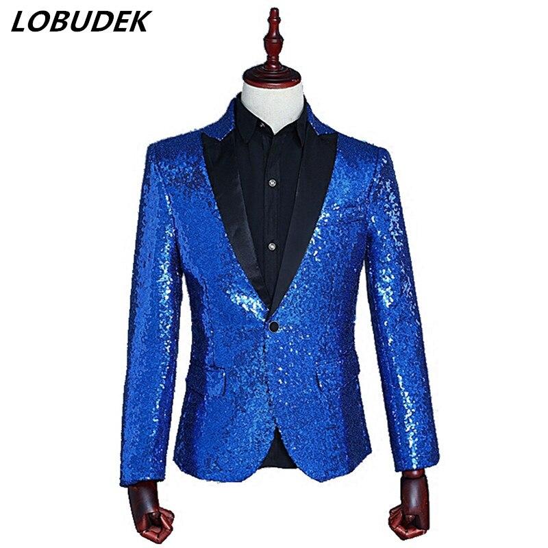 Блестки Для мужчин пиджак тонкий пиджаки пальто ночном клубе певица костюм Пром бар звезде для выступления одежда