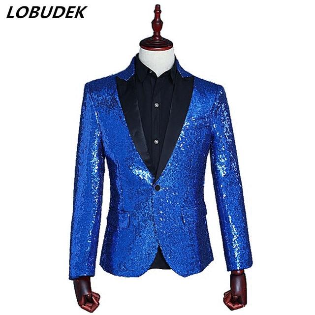 Sparkling sequins Men's suit jacket slim blazers coat Nightclub singer Costume prom Bar Host star stage performance clothes